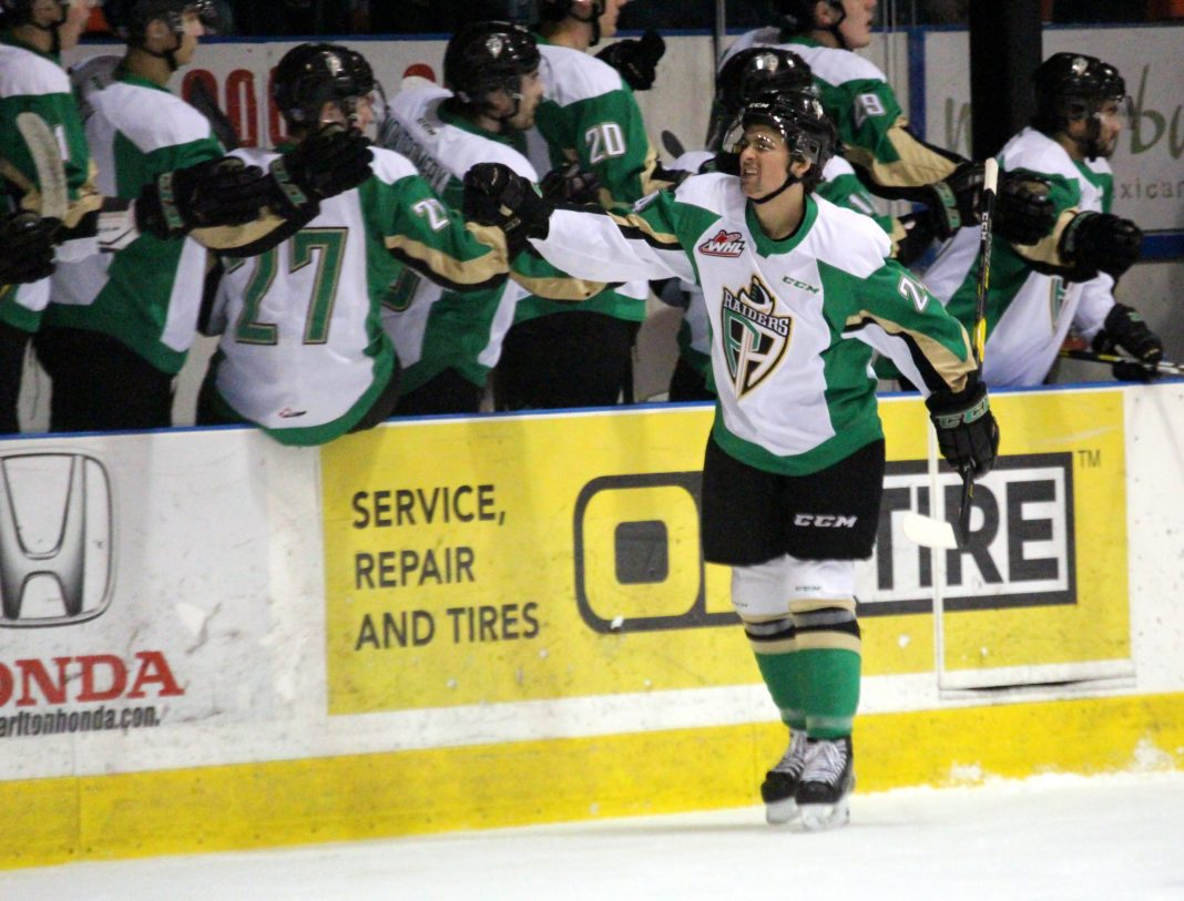 cc32e73c0d9 Lucas Punkari Daily Herald Cole Fonstad skates by the Prince Albert Raiders  bench after his first period goal against the Saskatoon Blades earlier this  ...