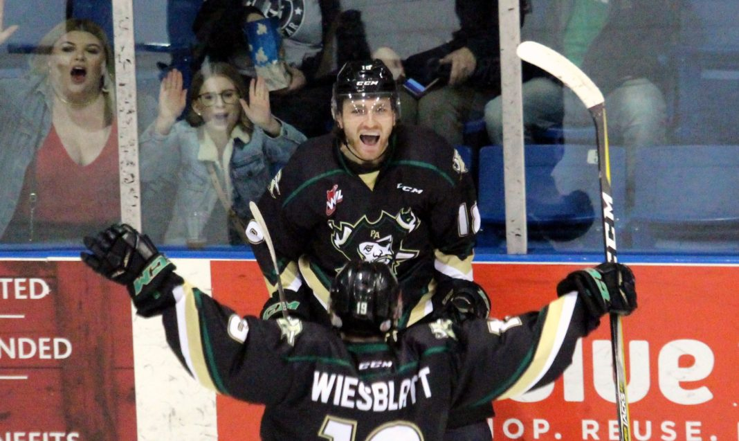 abc770f1197 ... Herald Noah Gregor celebrates after converting a feed from Ozzy  Wiesblatt in the Prince Albert Raiders  3-1 win over the Saskatoon Blades  Saturday.